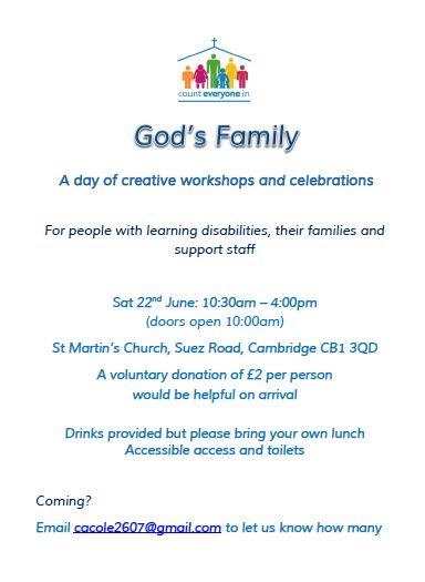 God's Family Poster for Cambridge 22nd June 2019