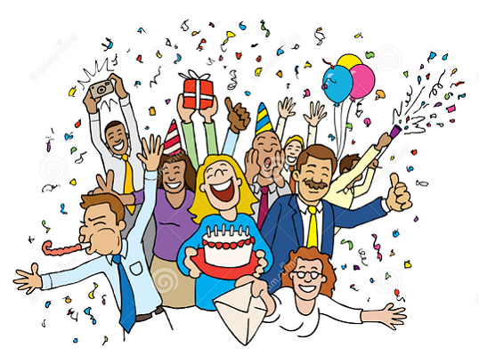 cartoon of people partying in a group